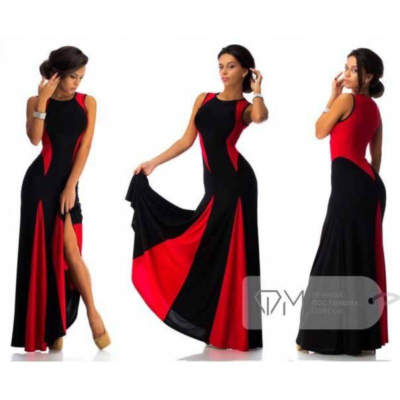 Платья в пол в красное и черное