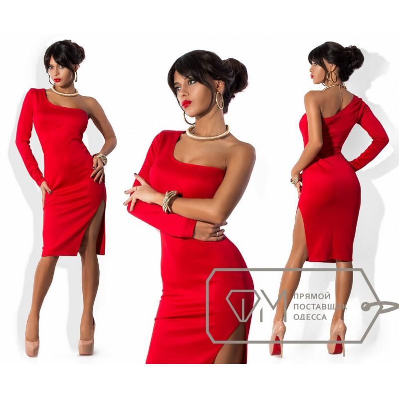 Платья с одним рукавом красный
